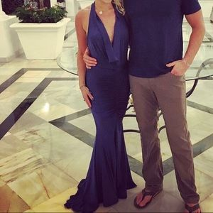 Plunging V-Neck Navy Gown